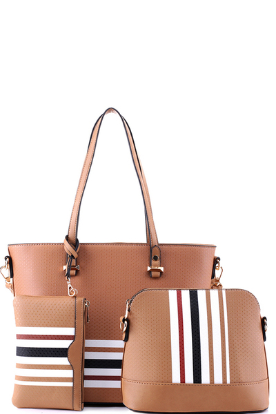 Stripe Print 3 in 1 Tote Cross Body Value SET