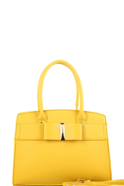 Bow Accent Classy Structured Satchel