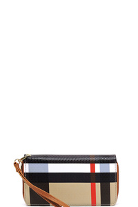 Plaid Check Printed Zip Around Wallet Wristlet