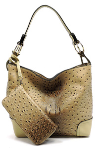 Ostrich Croc 2-in-1 Bucket Bag