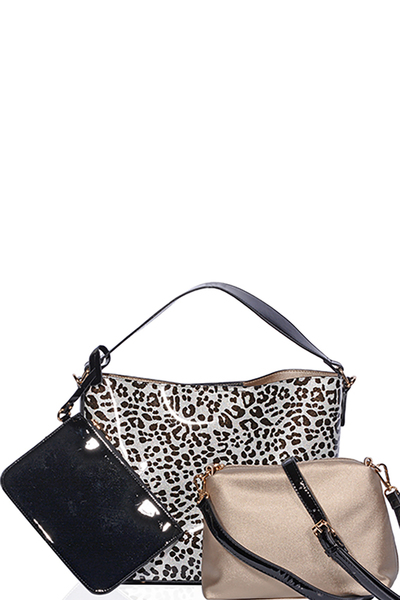 Black and Silver Patent Vegan Leather Leopard Pattern Handbag