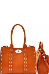 Turn-lock Accent Studded 2 In 1 Tote Set