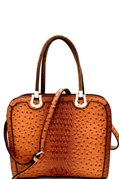 Hardware Accent Ostrich Embossed Satchel