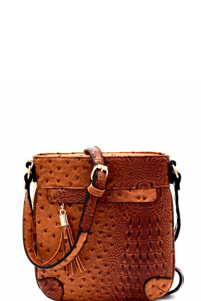 Ostrich Embossed Tassel Accent Cross Body