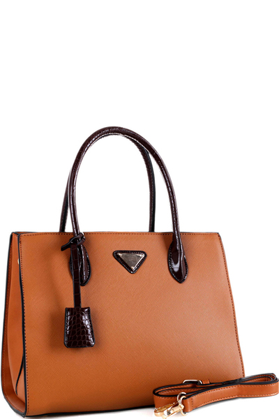Triangular Logo Two-Tone 2-Way Structured Satchel
