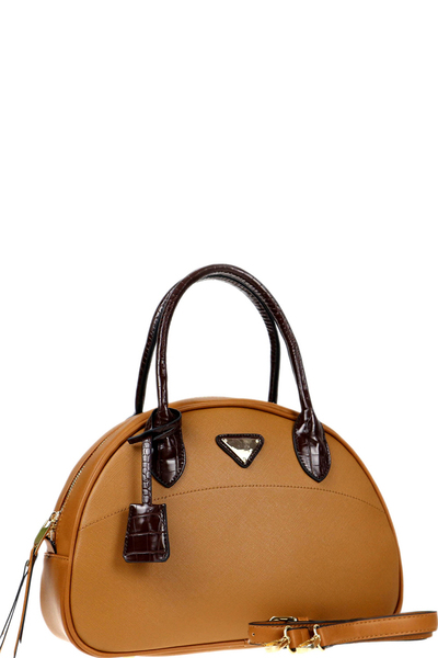 Triangular Logo Two-Tone 2-Way Dome Satchel