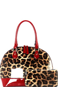 Leopard Print Patent 2-Way Dome Satchel Wallet SET