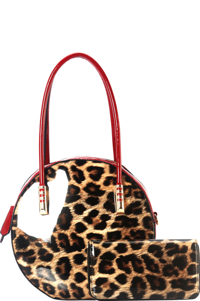 Leopard Print Patent 2-Way Round Satchel Wallet SET