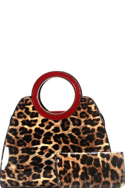 Leopard Round Handle 3-Compartment Satchel Wallet