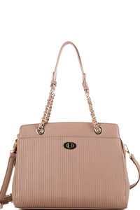 Turn-Lock Accent Pinstripe Embossed 2-Way Chain Tote