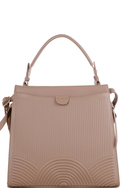 Side Knot Accent Embossed 2-Way Satchel