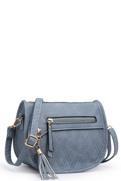 Fashion Embossed Quilt Saddle Crossbody Bag