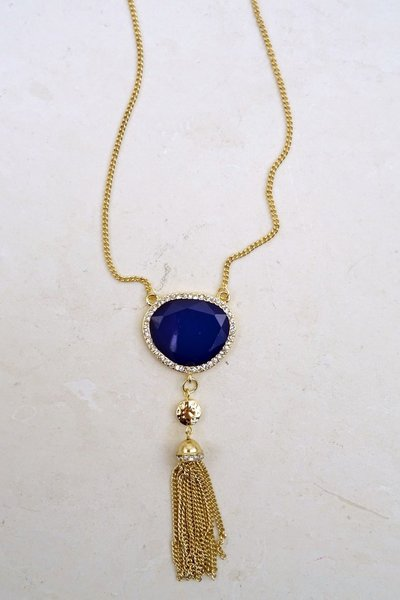 LAPIS STONE TASSEL NECKLACE
