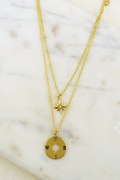 COMPASS AND STAR LAYERED NECKLACE