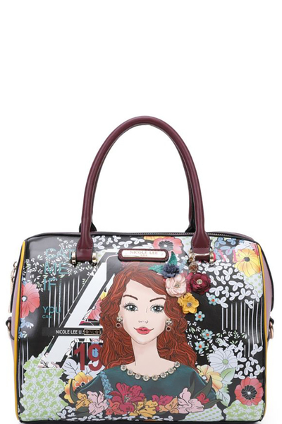 NICOLE LEE FLORAL PRINTED BOSTON BAG