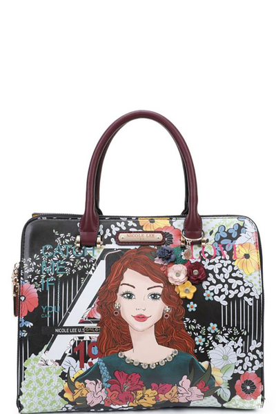 NICOLE LEE FLORAL PRINTED SATCHEL BAG