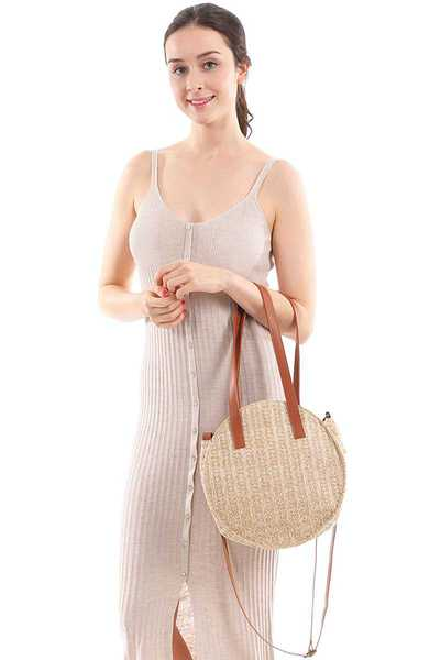 Chic Trendy Round Straw Bag Faux Leather Strap
