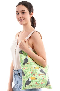 FASHION CHIC TOGO TOUCAN PRINT CANVAS TOTE BAG