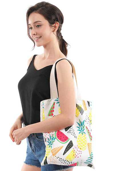 CHIC MULTI FRUITS PRINT CANVAS TOTE BAG
