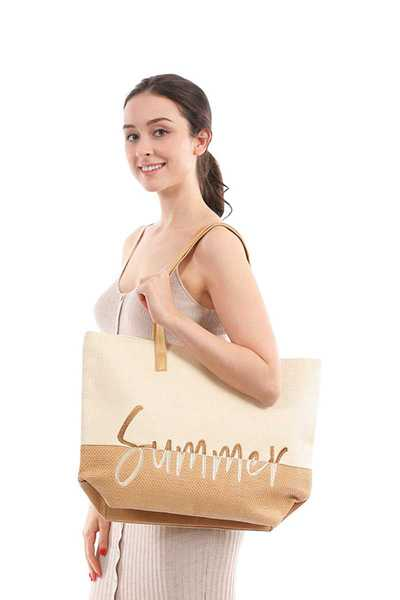 Fashion Two Tone Lettering Summer Beach Tote Bag