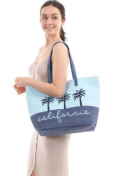 Two Tone Lettering California Beach Tote Bag