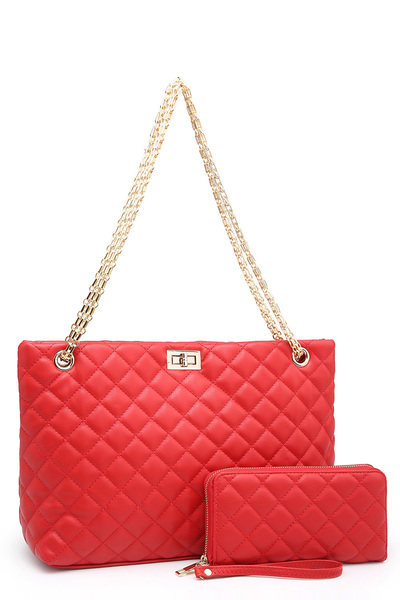 Quilted Twist Lock 2-in-1 Chain Shopper Tote