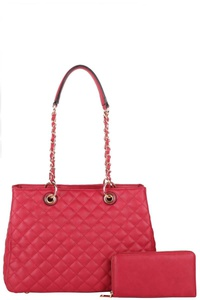 2IN1 MODERN STITCHED QUILTED FASHION TOTE BAG WITH WALLET SET