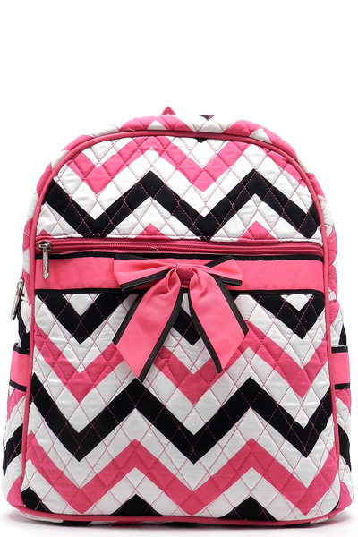 Quilted Chevron Print Backpack