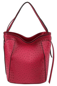 Ostrich Croc Convertible Bucket Shoulder Bag
