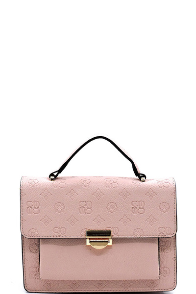 Embossed Monogram Colorblock Crossbody Satchel