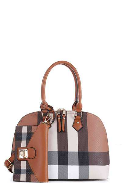 2IN1 CHECK DOMED SATCHEL WITH LONG STRAP