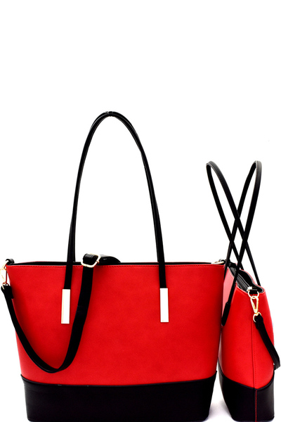 Two-Tone 2 in 1 Twin Tote SET