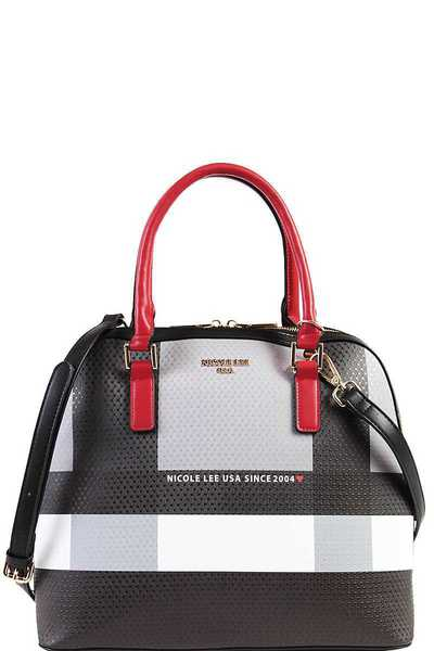 Nicole Lee STYLISH CHECK SATCHEL BAG