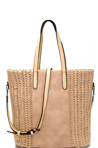 Woven Detail Rustic 2 Way Tall Tote