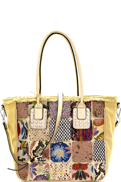 Multi-Colored Vintage Patchwork 2-Way Tote