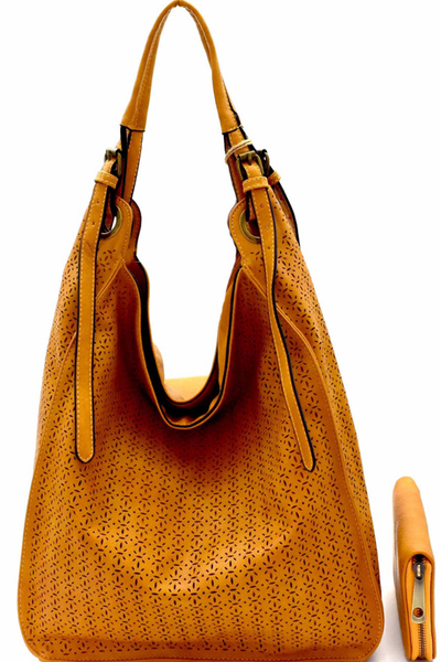Perforated Single Strap Hobo Wallet Set