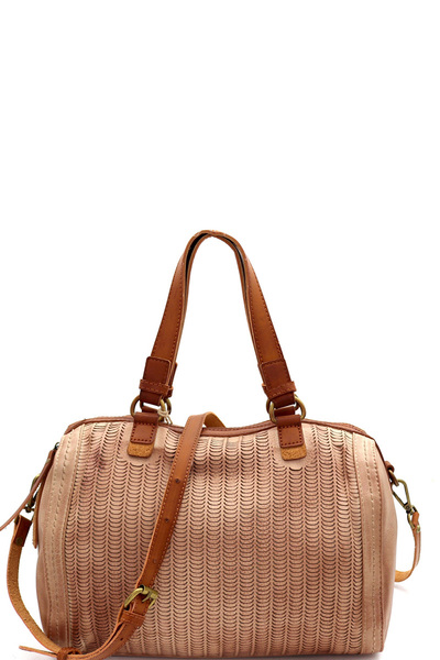 Perforated Two-Tone Rustic 2-Way Boston Satchel