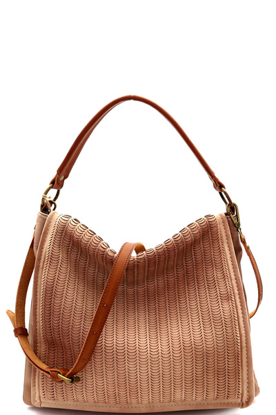 Perforated Two-Tone Rustic 2-Way Flap Satchel