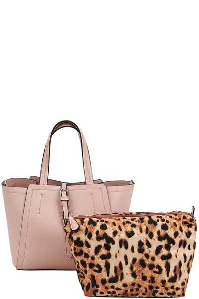 FASHION SATCHEL WITH LEOPARD PRINT INSIDE BAG