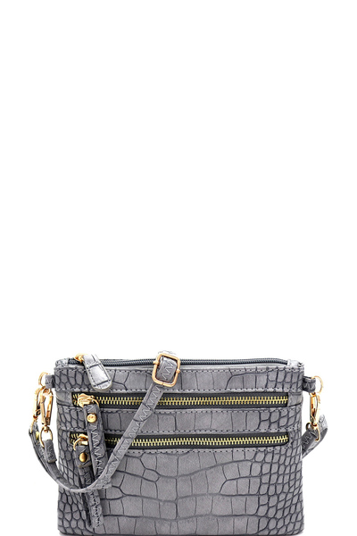 Crocodile Print Multi Pocket Versatile Wristlet Cross Body