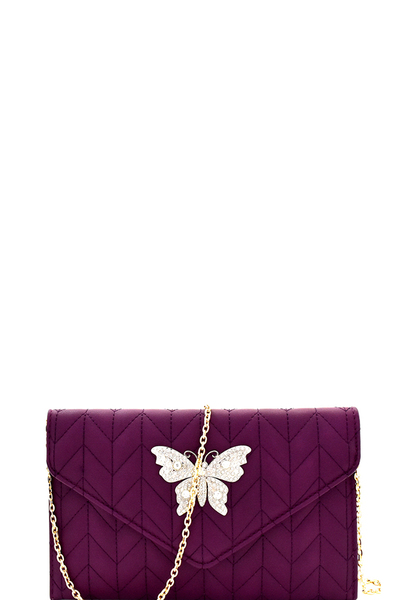 Rhinestone Butterfly Charm Quilted Envelope Clutch