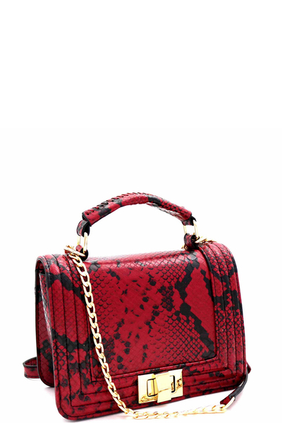 Snake Turn-Lock 2-Way Medium Satchel Shoulder Bag
