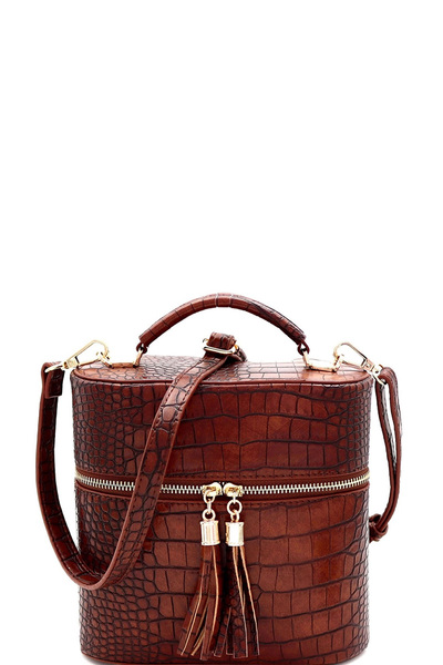 Crocodile Print Tassel Accent Top-Handle Medium Satchel