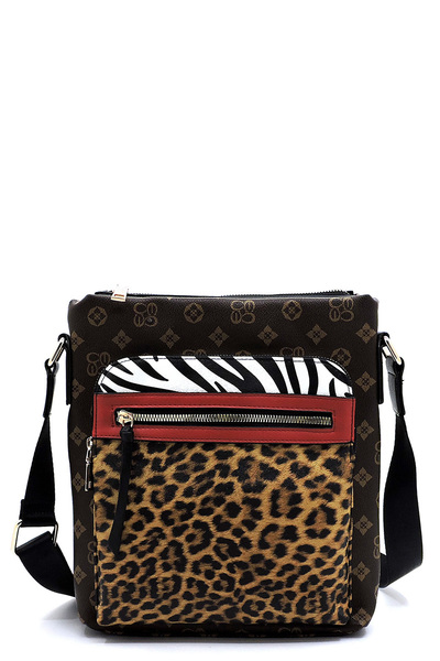 Leopard Zebra Monogram Colorblock Crossbody Bag