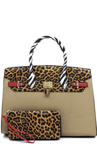 Leopard Zebra Colorblock Pad-lock 2-in-1 Satchel