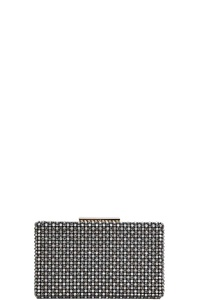 DESIGNER STRUCTURED MULTI RHINESTONE CLUTCH WITH CHAIN