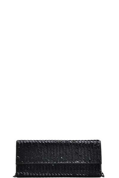 MODERN WOVEN PARTY CLUTCH WITH CHAIN