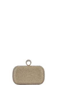MULTI RHINESTONE STRUCTURED PARTY RING CLUTCH