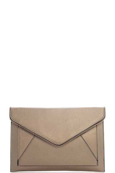 ZIPPER OUT LINED ENVELOPE CLUTCH WITH CHAINQ