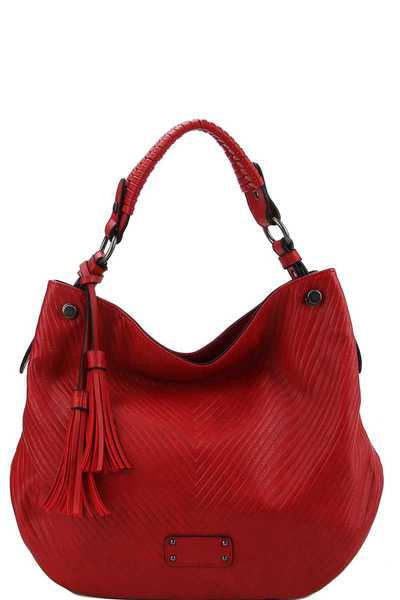 DESIGNER FASHION DOUBLE TASSEL HOBO BAG WITH LONG STRAP